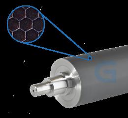Trục anilox là một trục kim loại có bề mặt được khắc nhiều ô nhỏ lõm.