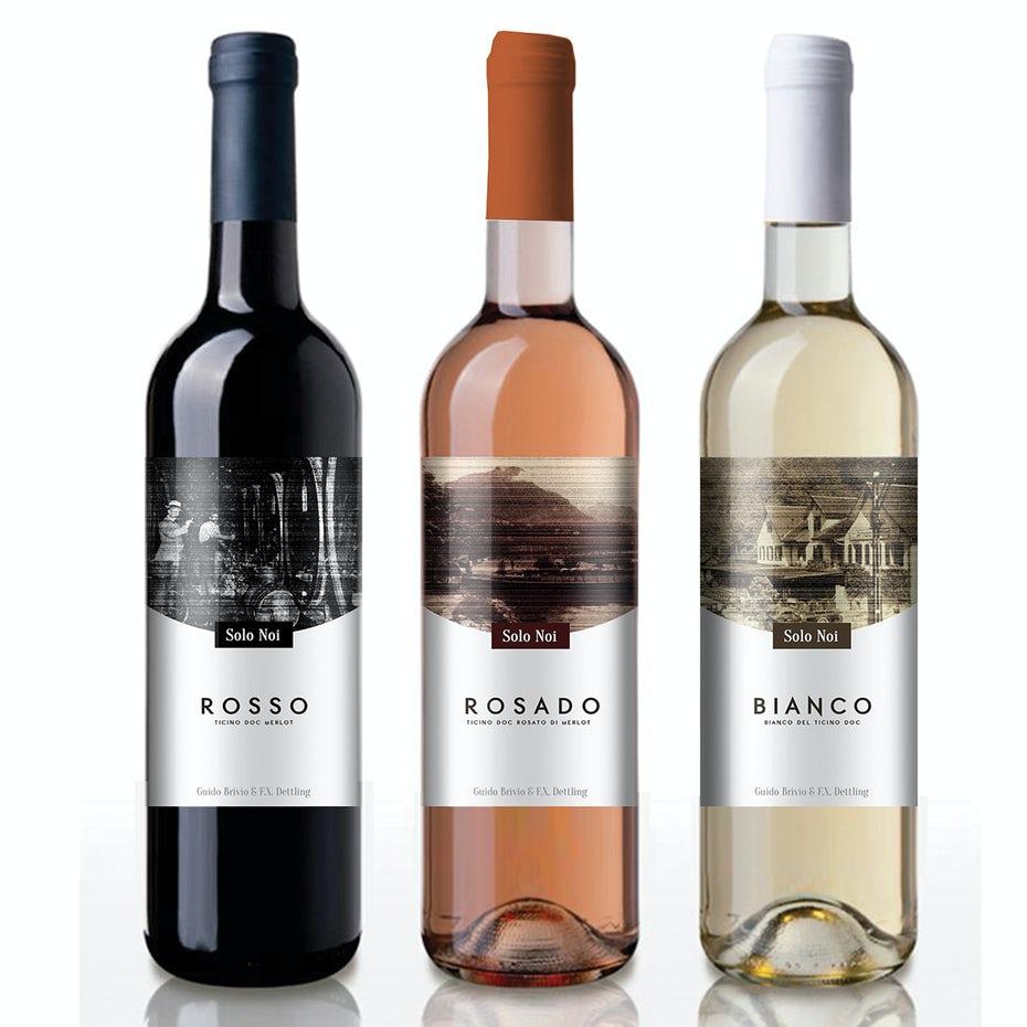 Một loạt nhãn sử dụng các màu sắc khác nhau và đồ họa tông màu cho mỗi sản phẩm , chúng giống nhau về bố cục chỉ khác màu sắc. Nhãn rượu của Multipraktik.