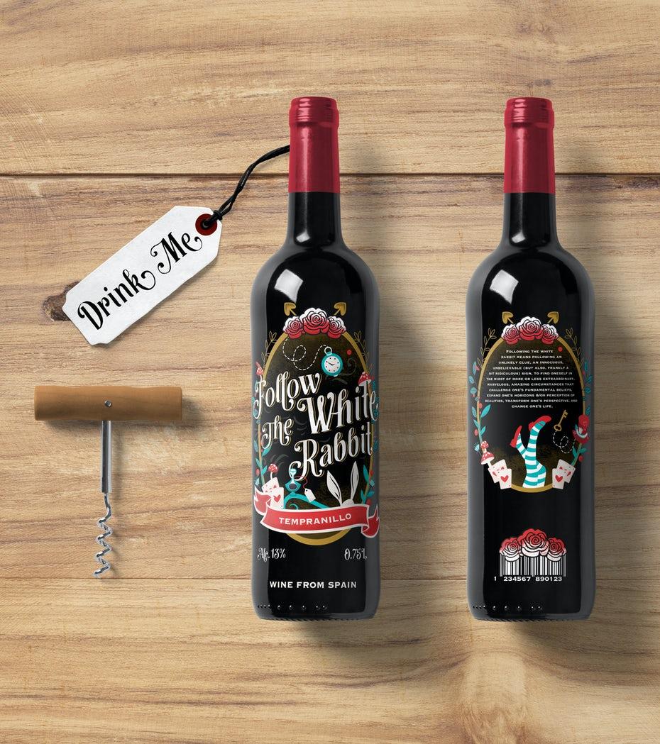 """Một nhã nruowju cắt bế Alice vui nhộn trong thiết kế lấy cảm hứng từ Wonderland. """"Follow the White Rabbit"""" Wine Label by Eastwood Studio ®"""