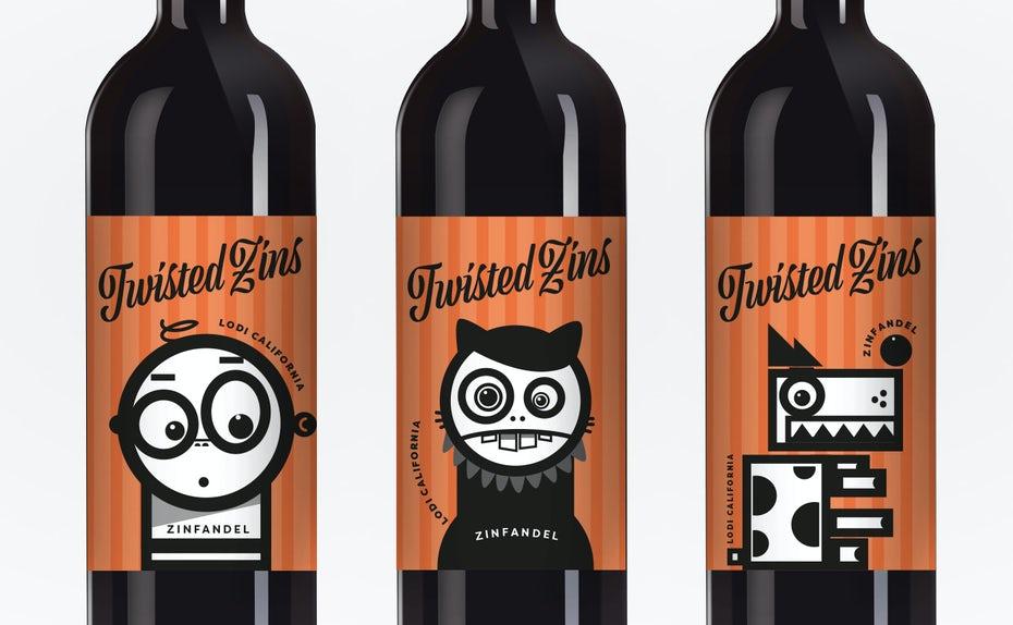 Một nhãn rượu vui vẻ, hiện đại, theo phong cách hoạt hình. Wine-Label-Design for Twisted Zins by ed-creative.