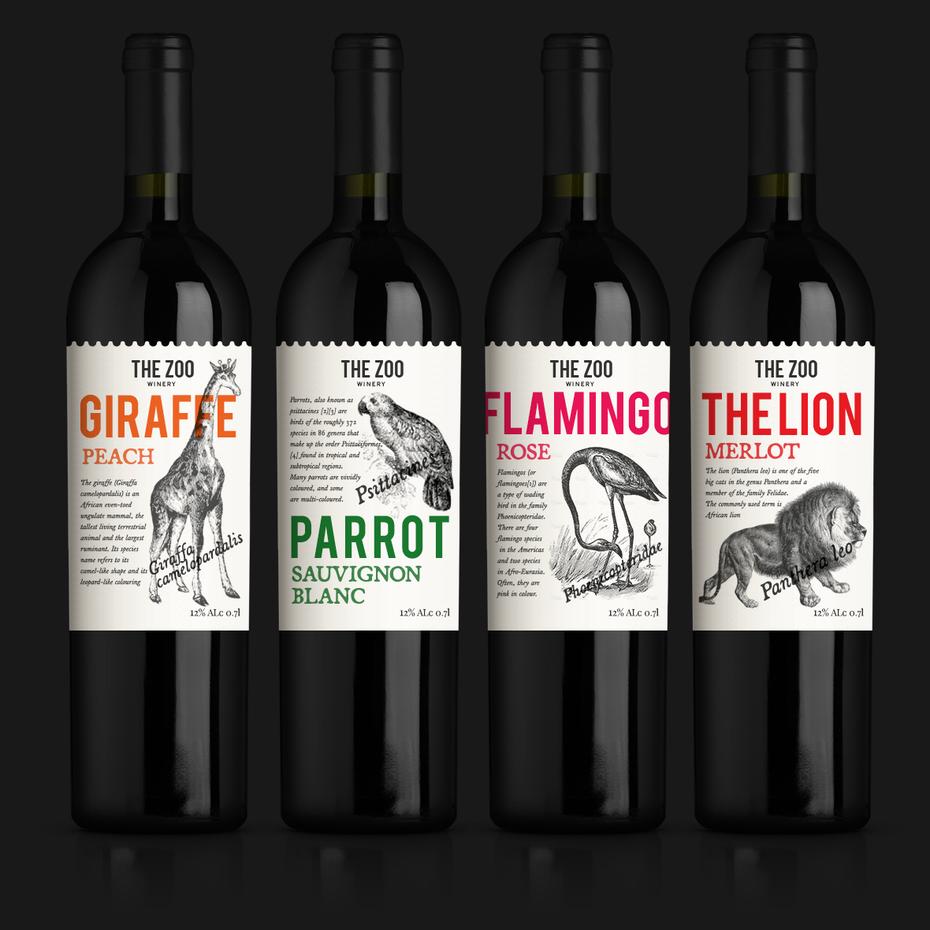 Một lựa chọn nhãn hiệu tốt cân bằng đậm nét hiện đại, với một chút vui tươi. Nhãn rượu của Tristan Rossi cho The Zoo Winery.