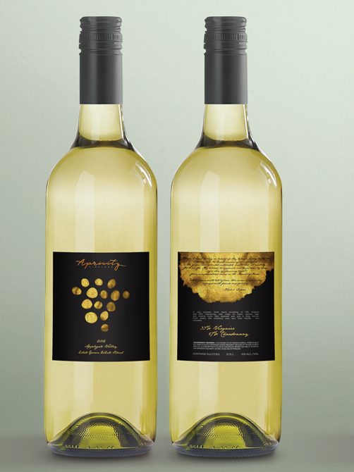 Một nhãn rượu có màu tối khác thường trên một loại rượu vang trắng. Apricity Vineyard 2016 White Blend Wine Label của evey81 cho nhãn rượu Apricity Vineyard.