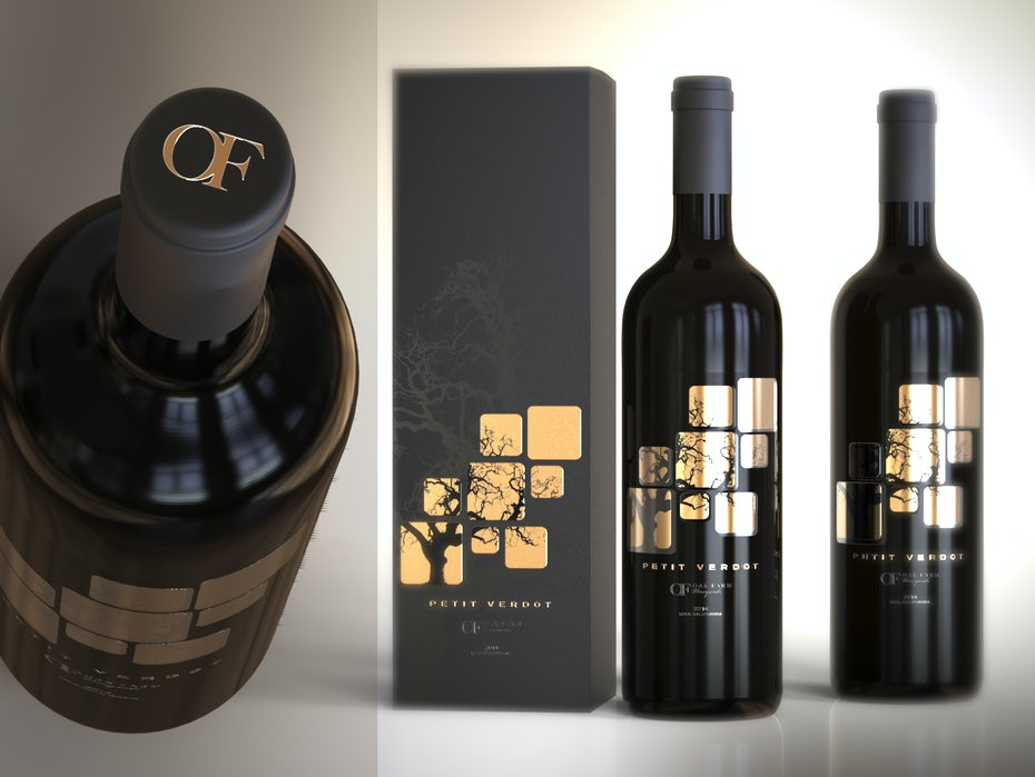 Sử dụng tuyệt vời kỹ thuật in metalize hoặc foil label để làm nổi bật một thiết kế nhãn khá truyền thống. Thiết kế nhãn rượu của Esteban T cho rượu vang Petit Verdot.