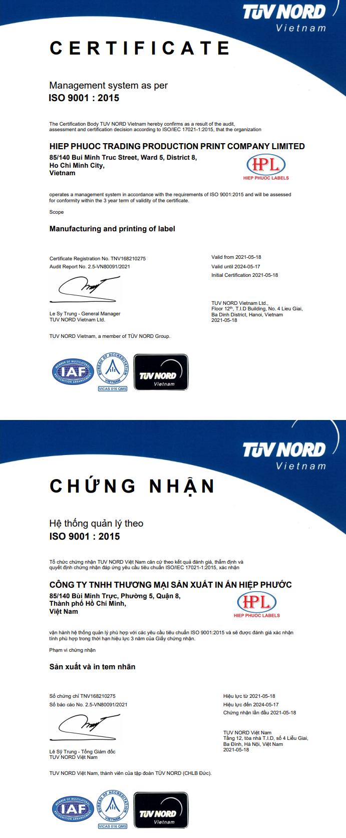 Chứng nhận ISO ̣9001_2005 từ tập đoàn TUV NORD ̣̣CHLB ĐỨCĐ