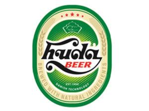 Nhãn bia huda với kiểu chữ cổ điển to đậm